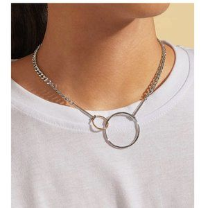 Silver Chain Link Double Hoop Charm Short Necklace